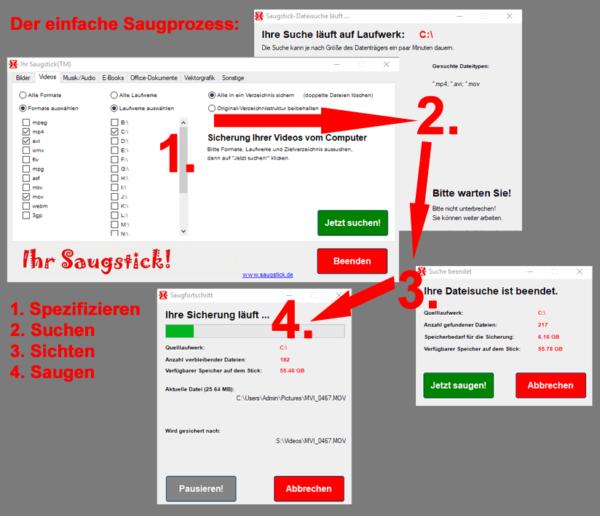 Der einfache Saugprozess: Dateien spezifizieren, Suchen, Sichten, Saugen