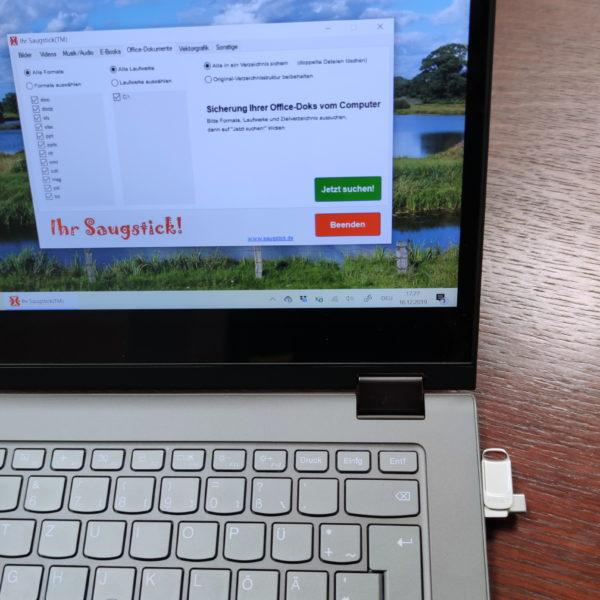 Saugstick-App im Einsatz: Sicherung von Office-Dokumenten auf den Stick